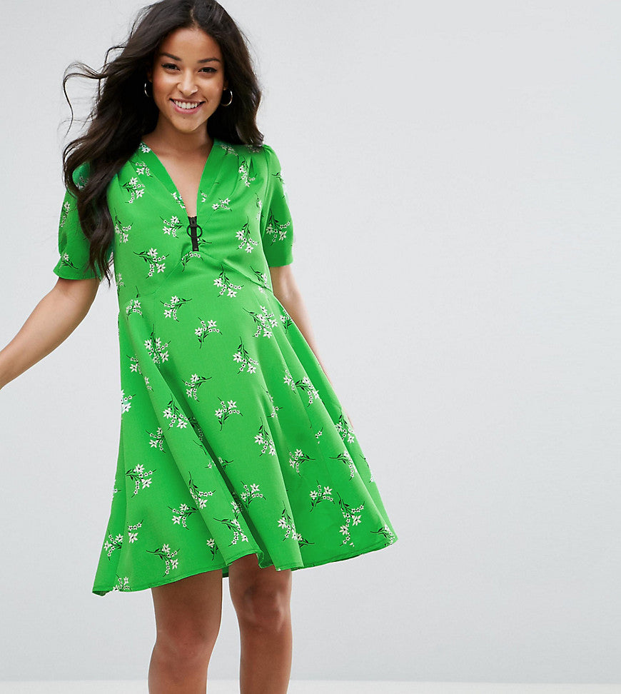 ASOS Maternity Short Sleeve Floral Tea Dress with Zip Detail - Green