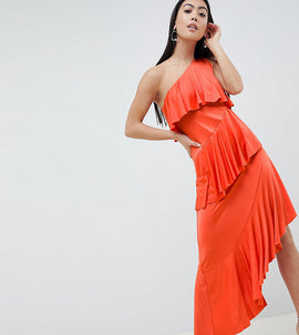 ASOS DESIGN Petite one shoulder drapey tiered midi dress - Burnt orange