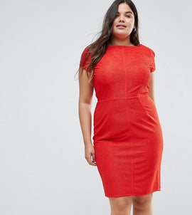 Closet London Plus Structured Plisse Pencil Dress - Red