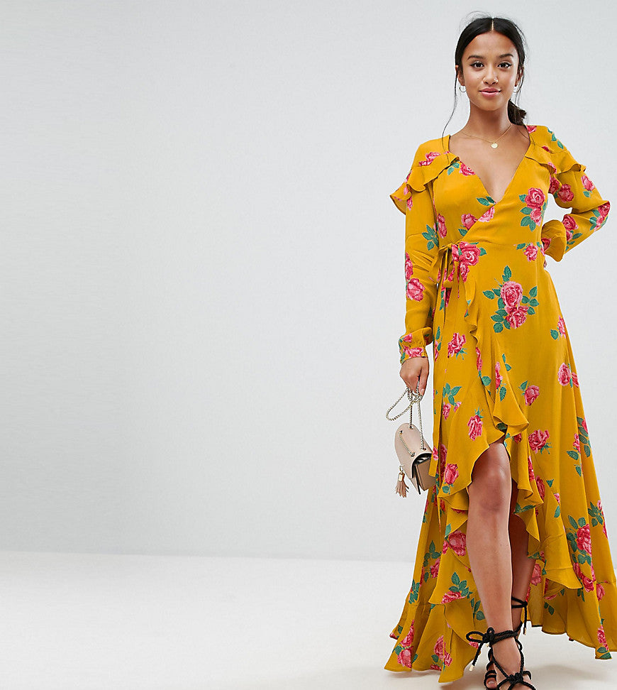 ASOS Petite Long Sleeve Wrap Maxi Dress in Bold Floral - Yellow