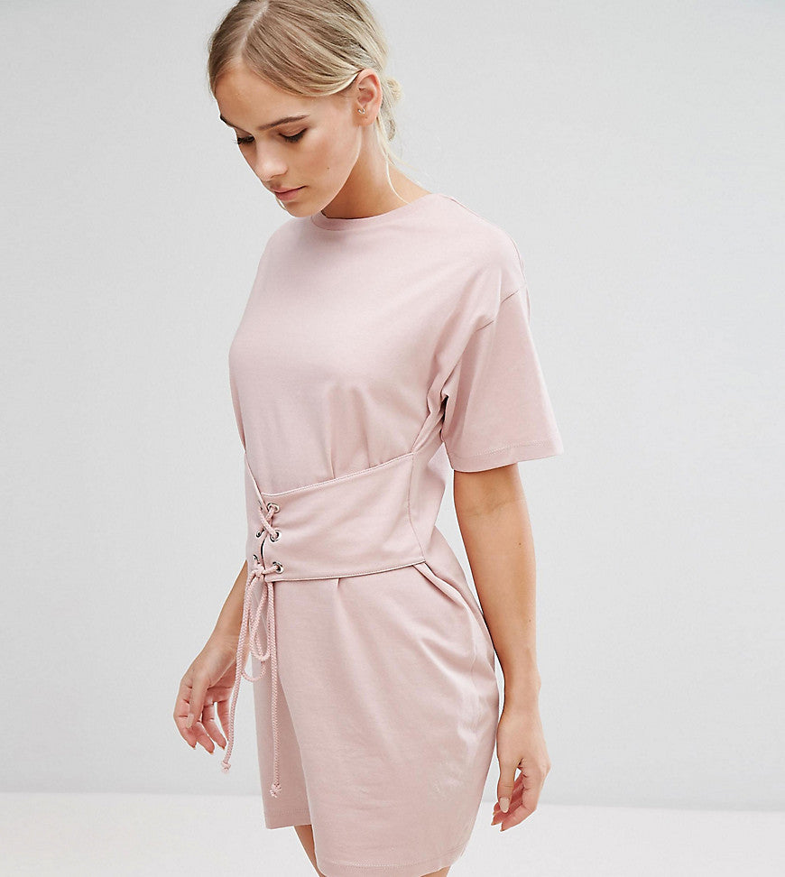 ASOS PETITE Corset Detail T-Shirt Dress - Nude