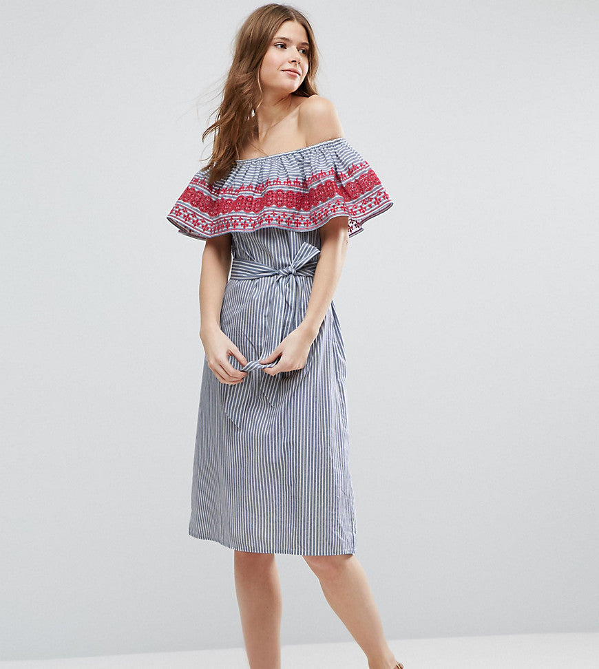 ASOS TALL Off Shoulder Midi Sundress In Stripe Cotton With