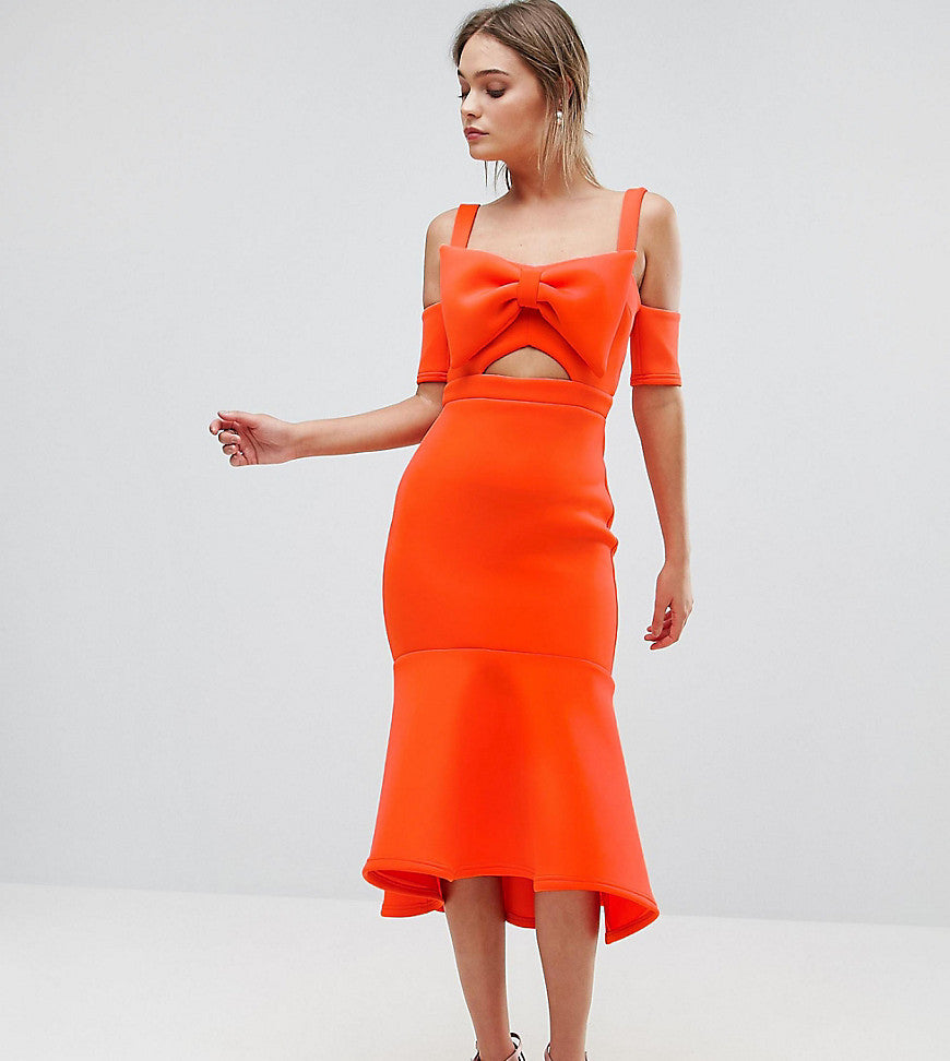 True Violet Bow Detail Midi Dress With Pep Hem - Orange