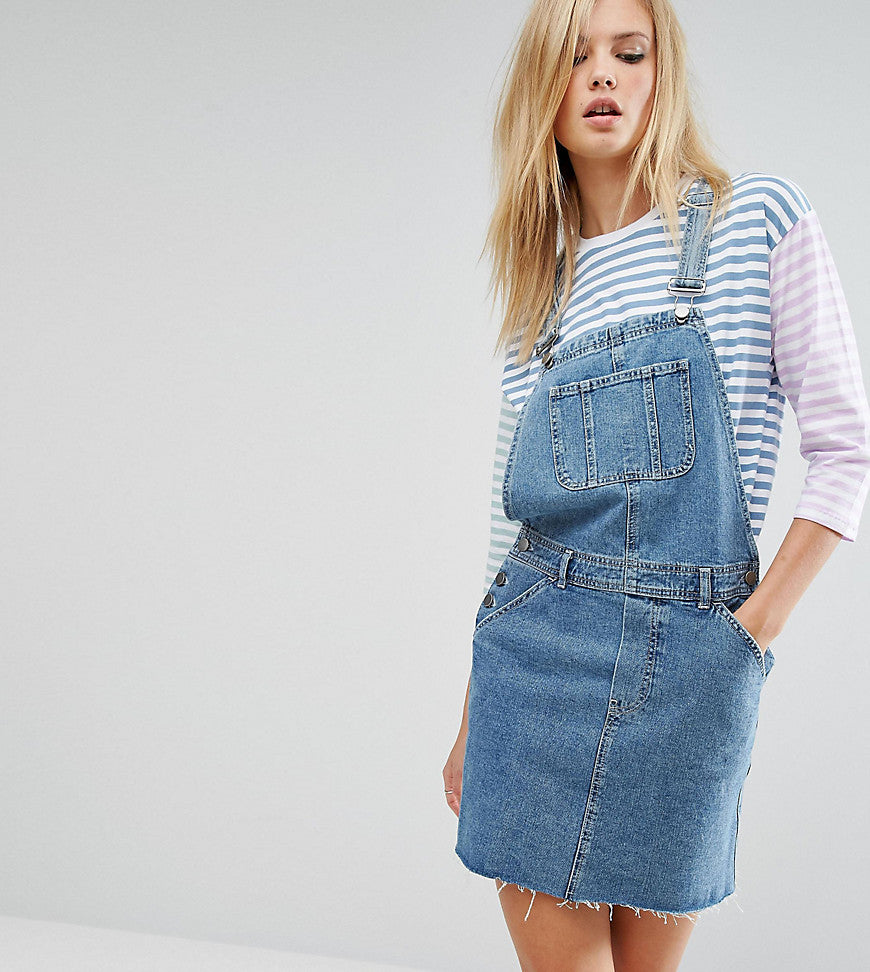ASOS TALL Denim Dungaree Dress in Midwash Blue - Blue