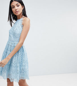 ASOS DESIGN Tall pinny prom mini dress in lace - Pale blue