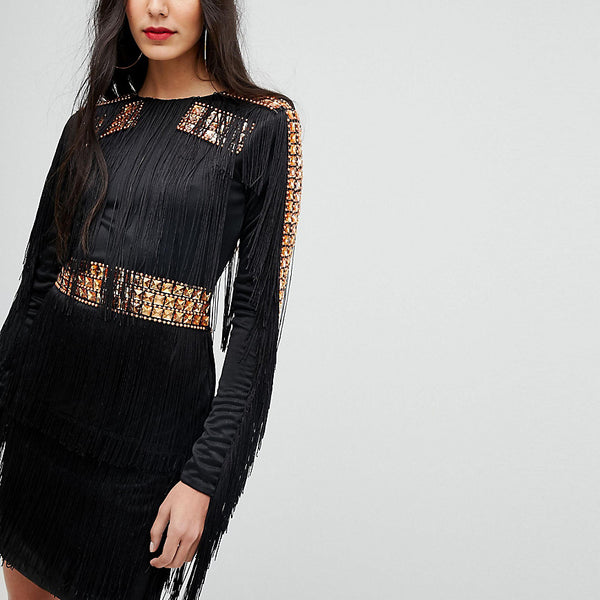 A Star Is Born Tall Mini Dress In Jersey With Embellished Studs And Fringing - Black