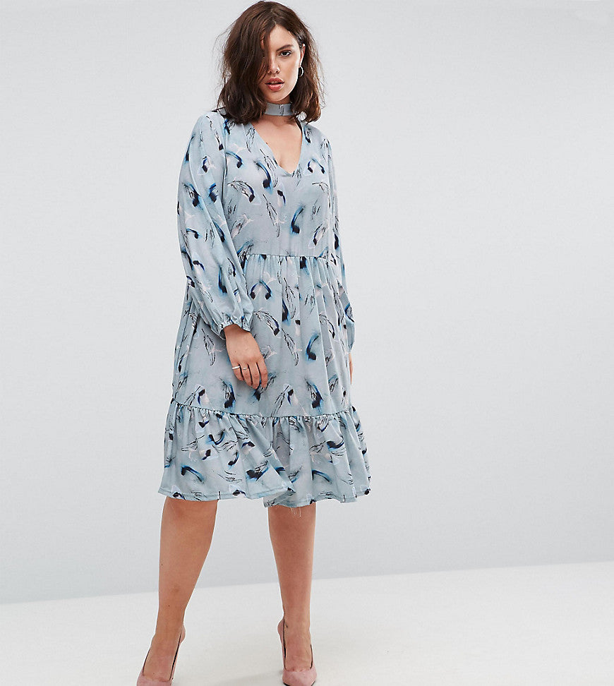 Lost Ink Plus Feather Print Smock Dress - Multi