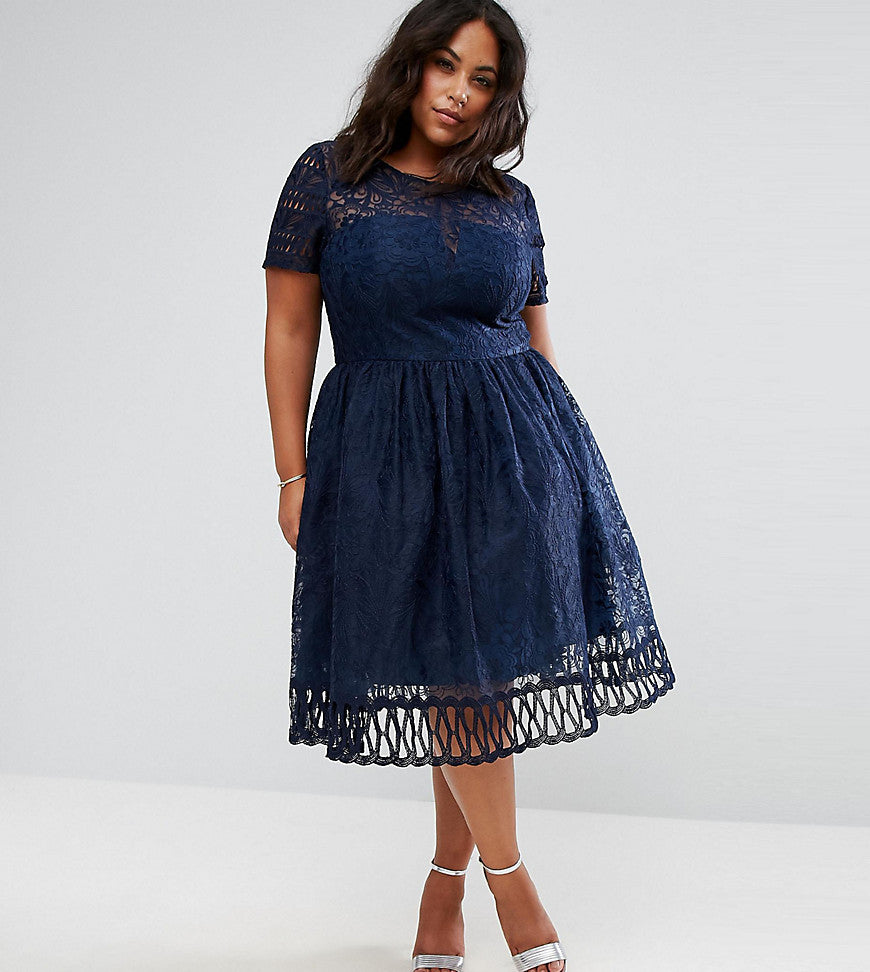 Chi Chi London Plus Premium Lace Dress with Cutwork Detail and Cap Sleeve - Navy
