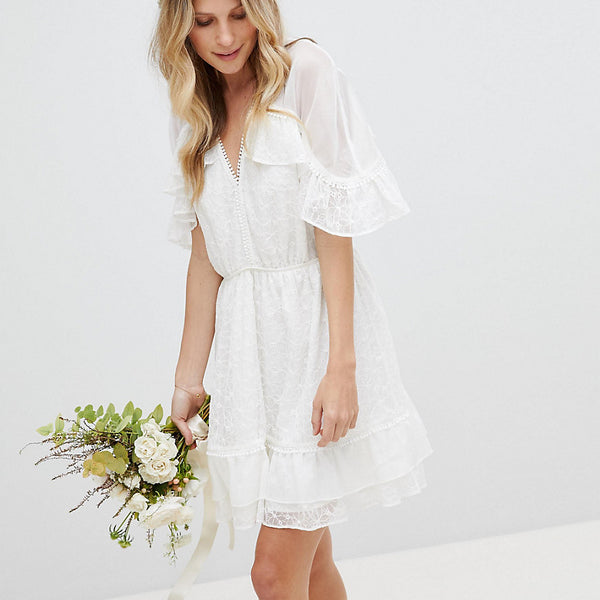Stevie May Exclusive Hail Spot Tulle With Embroidery Mini Dress - Off white