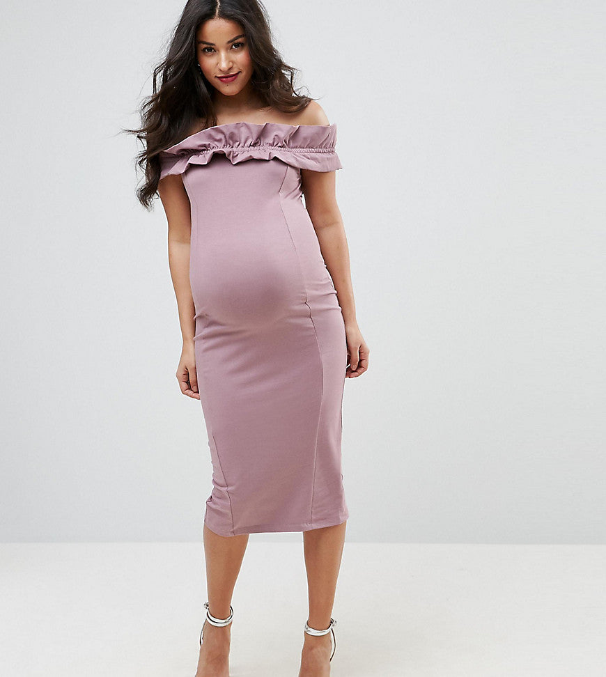 ASOS Maternity Ruched Ruffle Bardot with Seams Dress - Mink