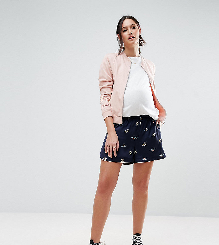ASOS Maternity PETITE Woven Short with Bug Print - Navy