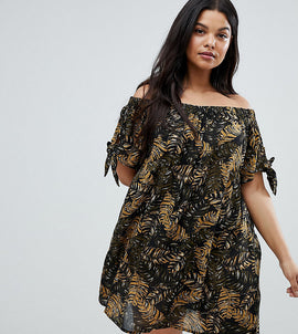 Brave Soul Plus Off Shoulder Jungle Dress - Brown jungle