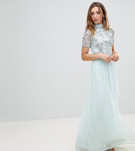 Frock And Frill Premium Embellished Top Maxi Dress - Duckegg