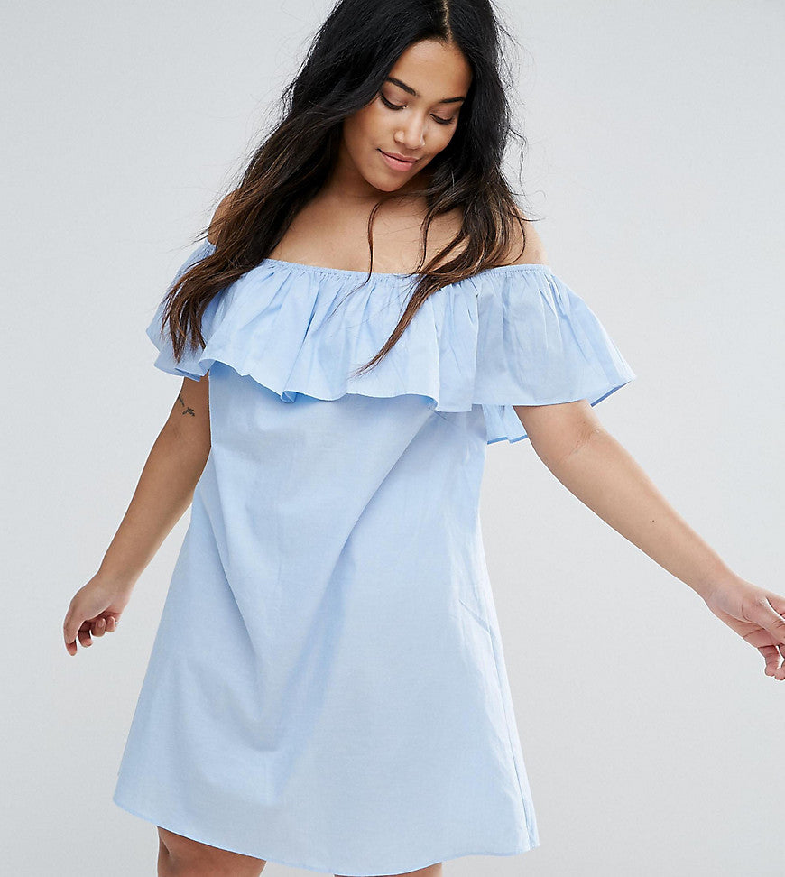 AX Paris Plus Chambray Ruffle Off The Shoulder Dress - Blue