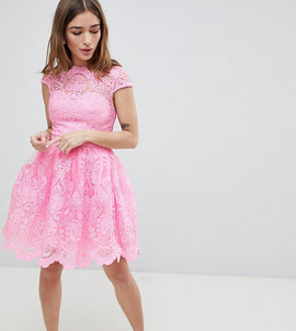 Chi Chi London Petite Premium Lace Mini Dress with Scalloped Neck and Cap Sleeve - Bubblegum pink