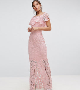 Paper Dolls Tall Bardot Lace Maxi Dress With Frill Detail - Nude