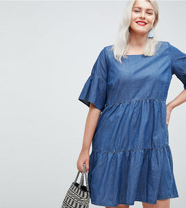 Junarose Tiered Denim Dress - Blue