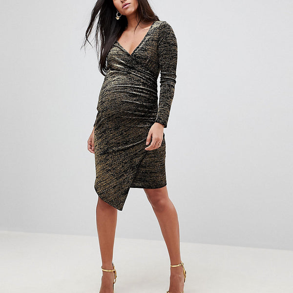 Flounce London Maternity Wrap Front Midi Dress with Assymmetric Hem in Metallic Velvet - Black/gold