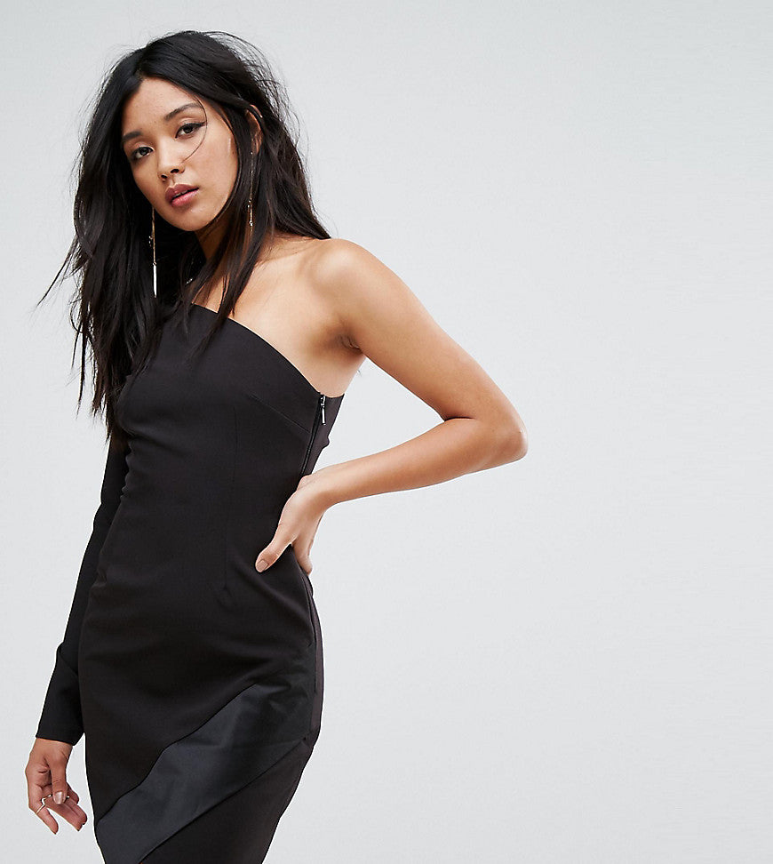 Vesper One Shoulder Mini Dress with Long Sleeves and Asymmetric Hem - Black
