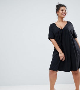 ASOS DESIGN Curve ultimate cotton smock dress - Black