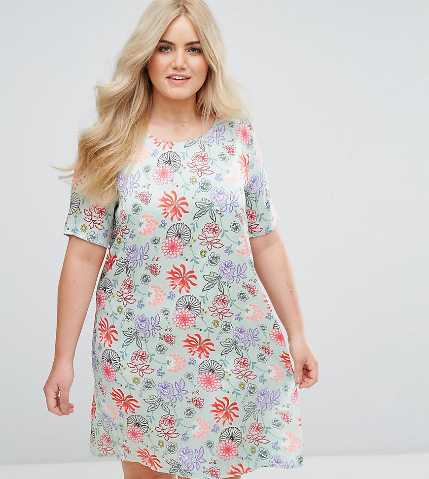 Alice & You Shift Dress in Bright Floral - Green and pink