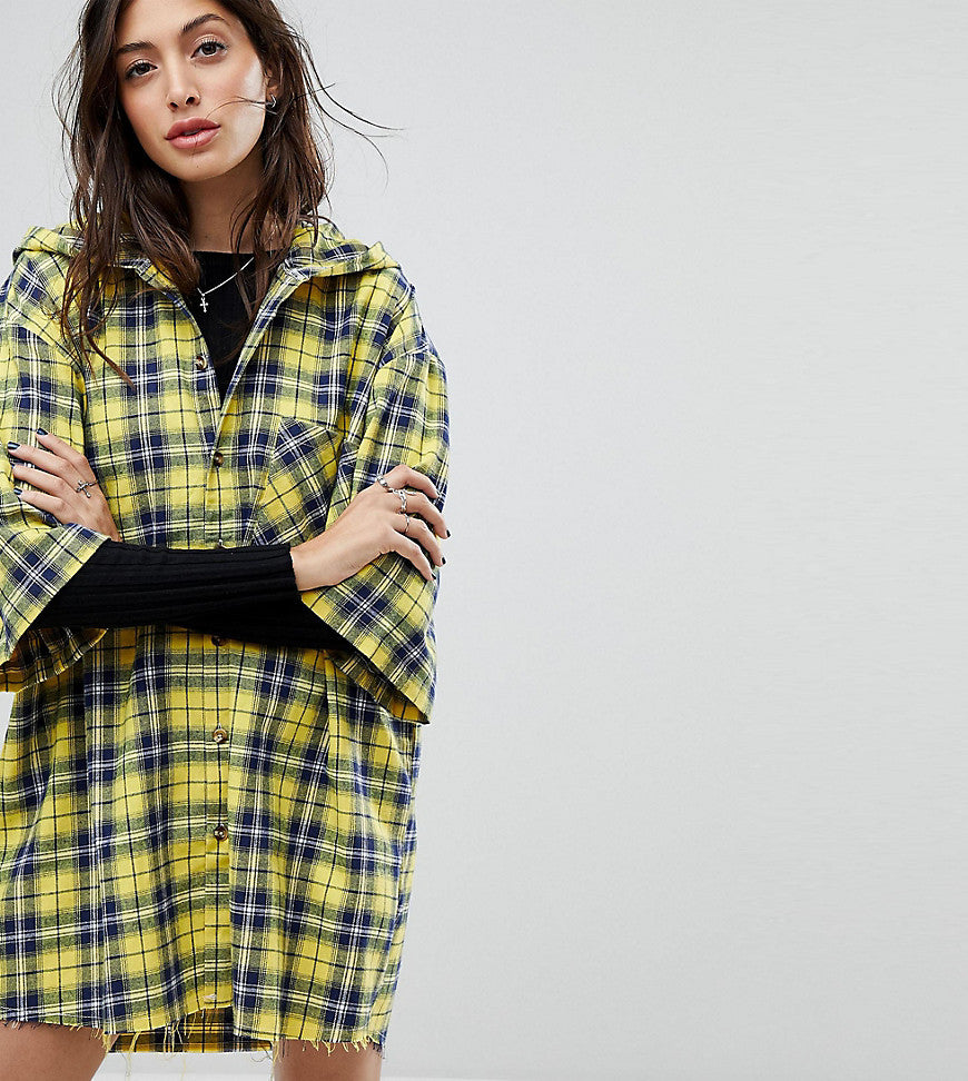 Reclaimed Vintage Inspired Hooded Shirt Dress In Check - Yellow