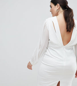 John Zack Plus Open Back Bodycon Dress With Split Sleeve Detail - White