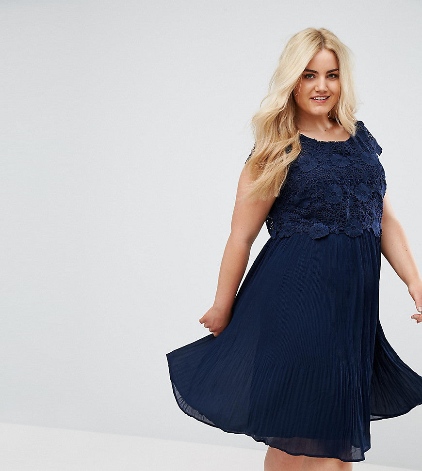 Lovedrobe Crochet Overlay Pleated Dress - Navy