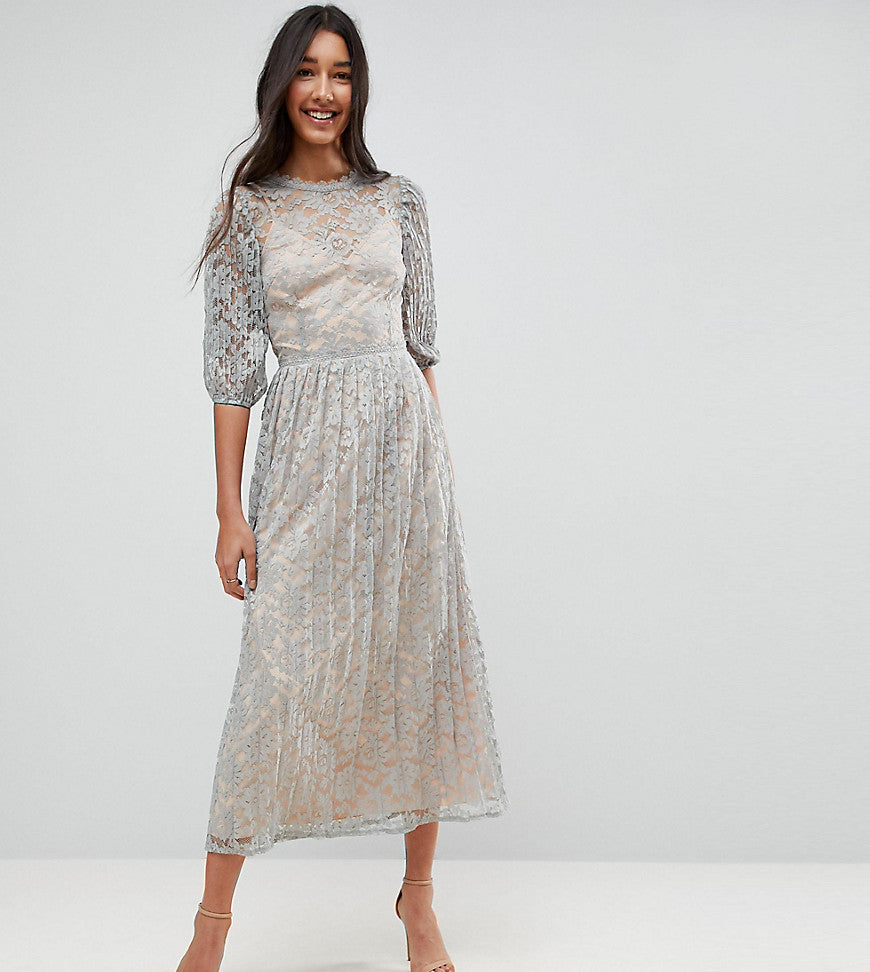 Little Mistress Tall All Over Lace Maxi Dress With Balloon Sleeve Detail - Waterlily