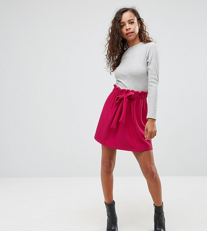 ASOS PETITE Textured Mini Skater Skirt with Paperbag Waist and Belt - Sangria