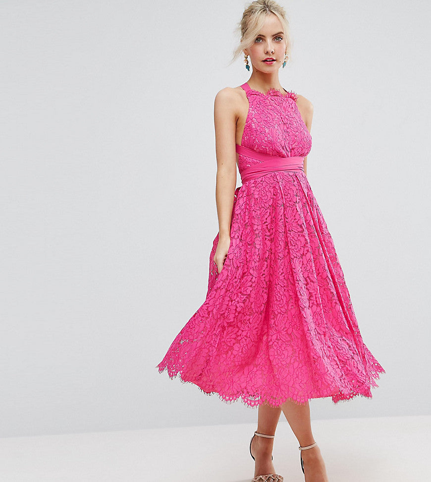 ASOS PETITE SALON Lace Halter Pinny Midi Prom Dress - Hot pink