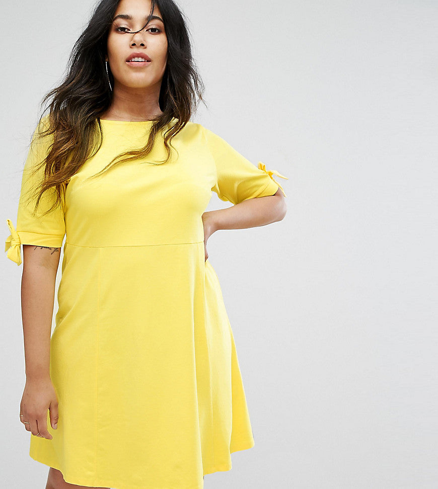 ASOS CURVE Skater Dress with Bow Sleeve - Yellow
