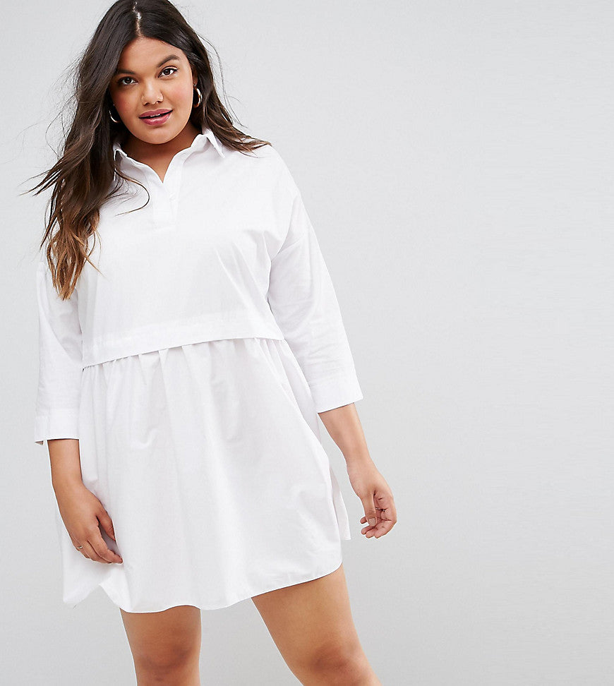 ASOS CURVE Cotton Mini Smock Shirt Dress - White
