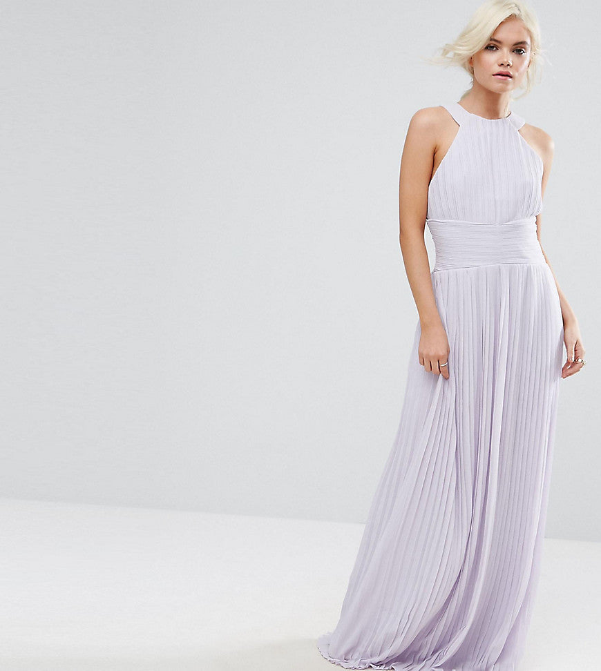 TFNC Petite Wedding High Neck Pleated Maxi Dress - Lilac