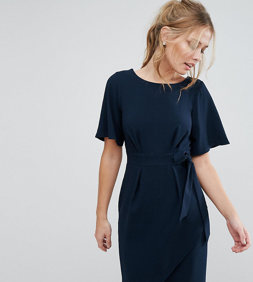 Closet London Tie Front Dress With Kimono Sleeve - Navy