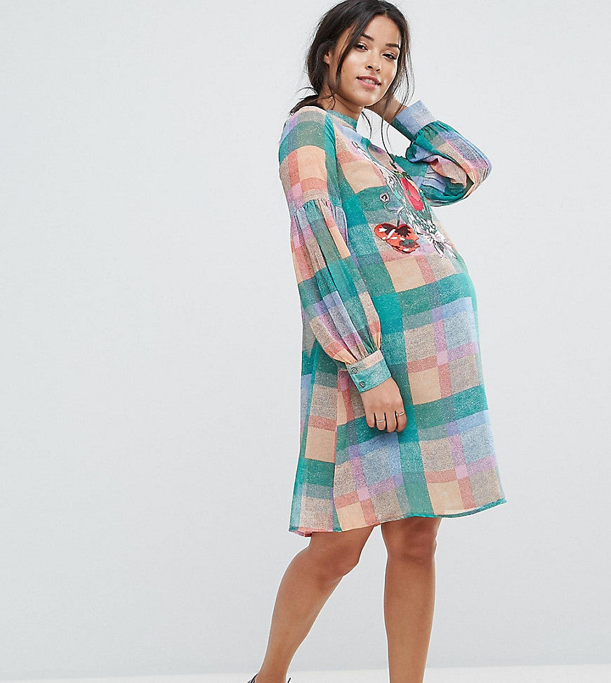 ASOS Maternity Check Dress with Embroidery - Multi