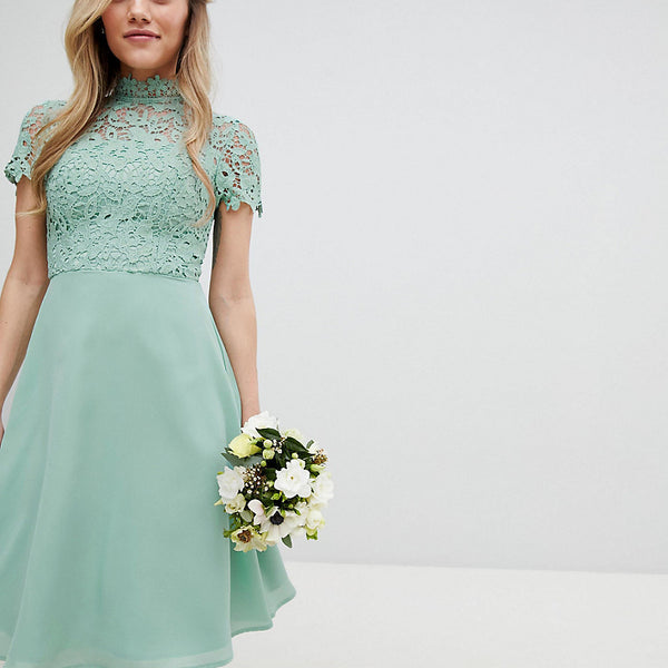 Chi Chi London Petite 2 in 1 High Neck Midi Dress with Crochet Lace - Green lily