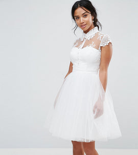 Chi Chi London Petite Mini Tulle Skater Dress With Lace Collar - Ivory