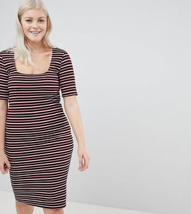 New Look Curve Stripe Bodycon Dress - Black pattern