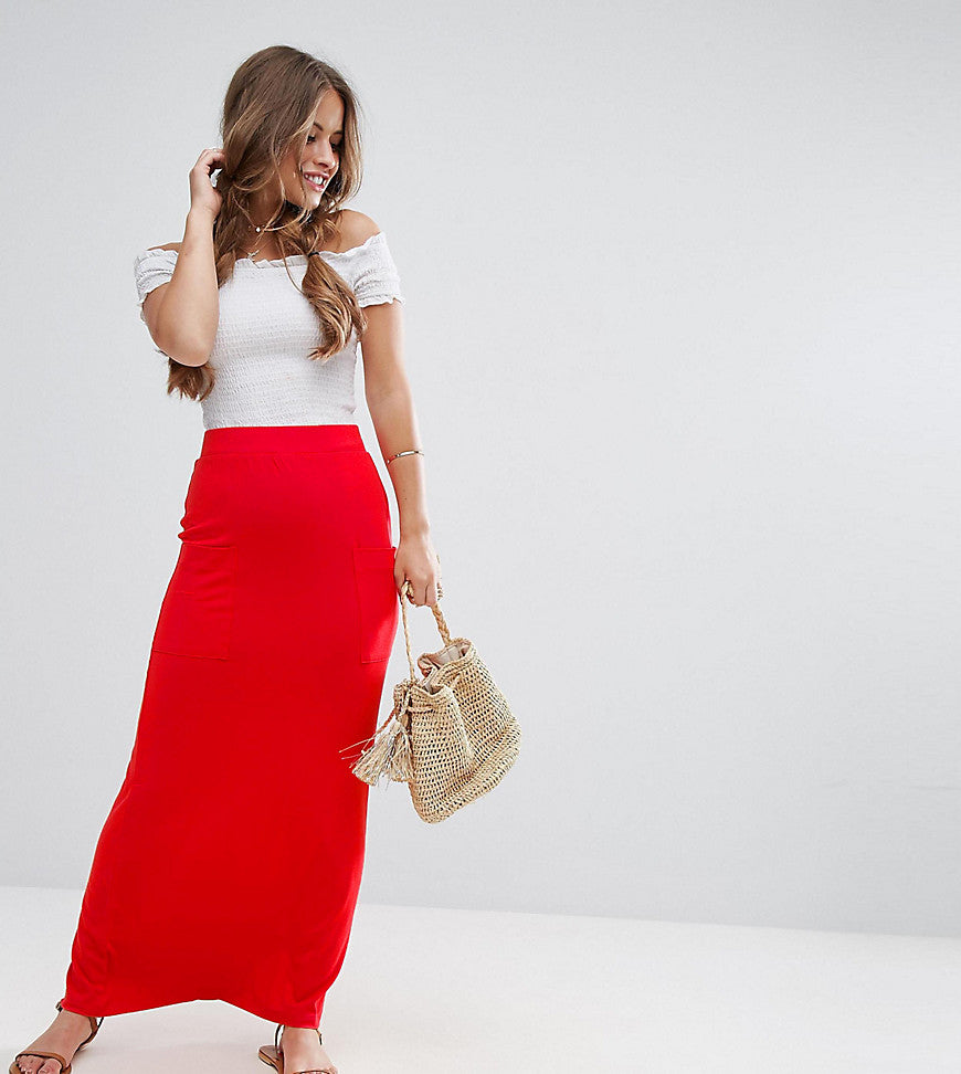 ASOS PETITE Jersey Maxi Skirt with Pockets - Coral