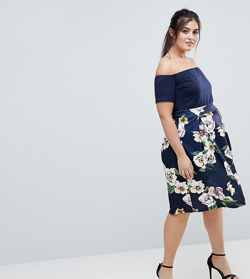 AX Paris Plus Scuba 2-In-1 Floral Skirt Dress - Navy with print