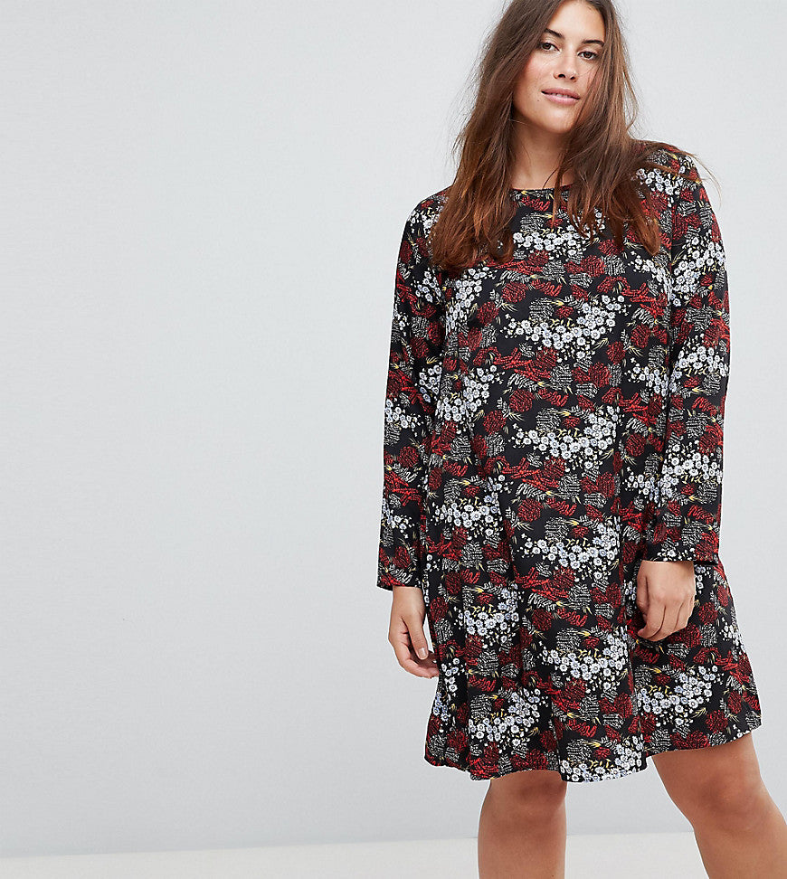 Glamorous Curve Long Sleeve Swing Dress In Antique Floral - Black multi
