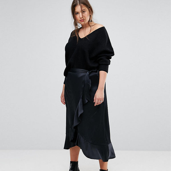 Simply Be Satin Wrap Frill Maxi Skirt - Black