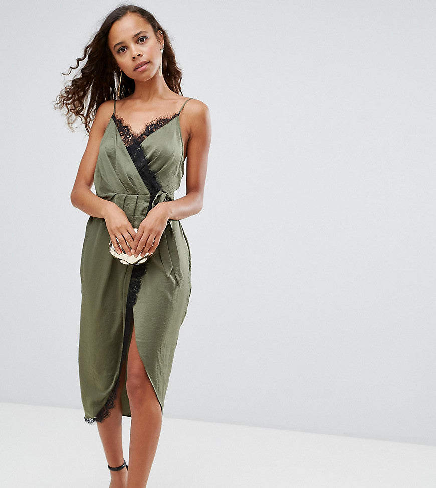 ASOS PETITE Hammered Satin Lace Trim Cami Sexy Wrap Midi Dress - Khaki