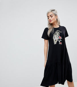 ASOS PETITE casual t-shirt dress with dropped hem and tiger embroidery - Black