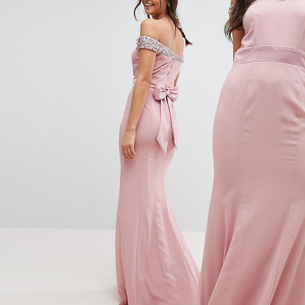 Maya Tall Bardot Sequin Detail Maxi Dress With Bow Back Detail - Vintage rose