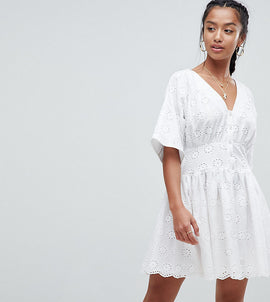 ASOS PETITE Tea Dress in Broderie - White