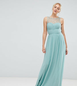 Little Mistress tall embellished top maxi dress in sage - Sage
