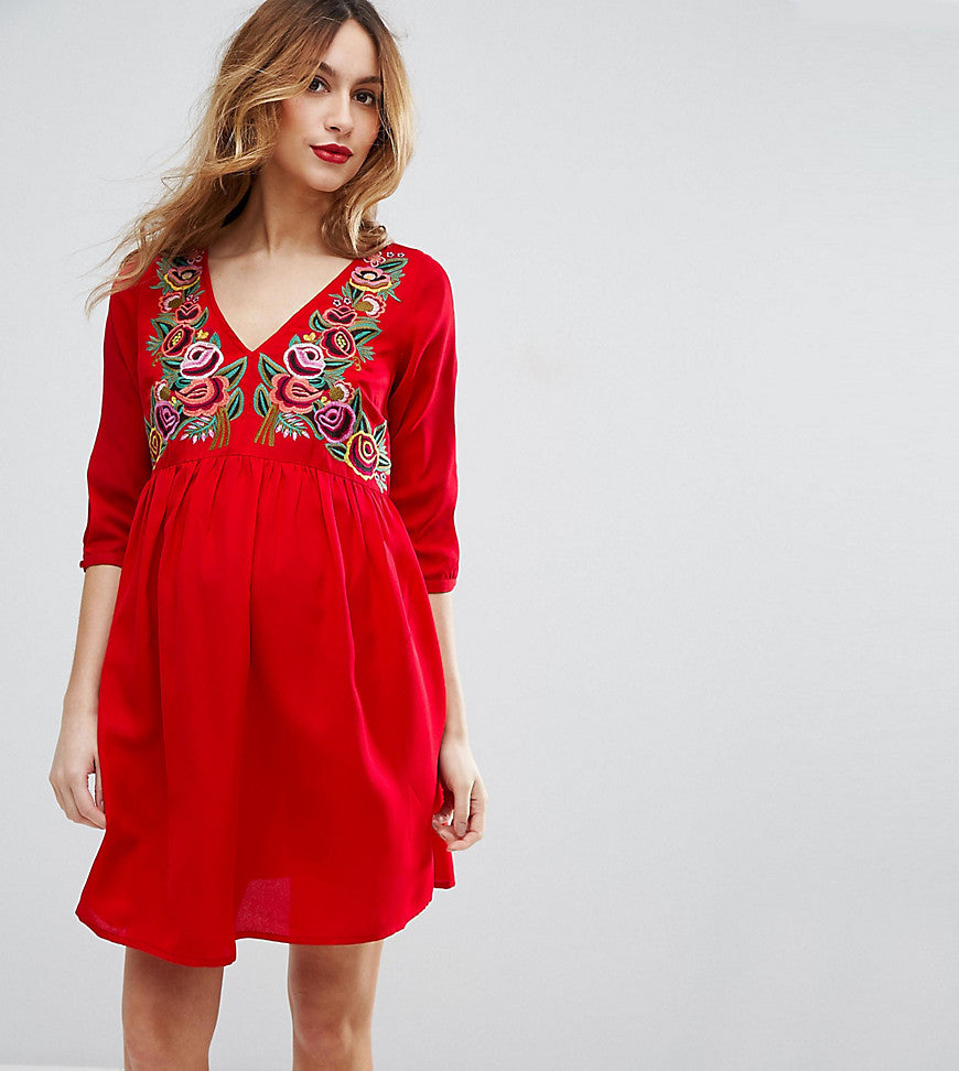 ASOS Maternity PETITE Dress with Embroidery - Red