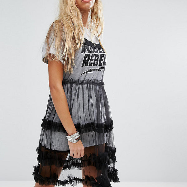 Mad But Magic Mesh Dress With Chain Strap - Black